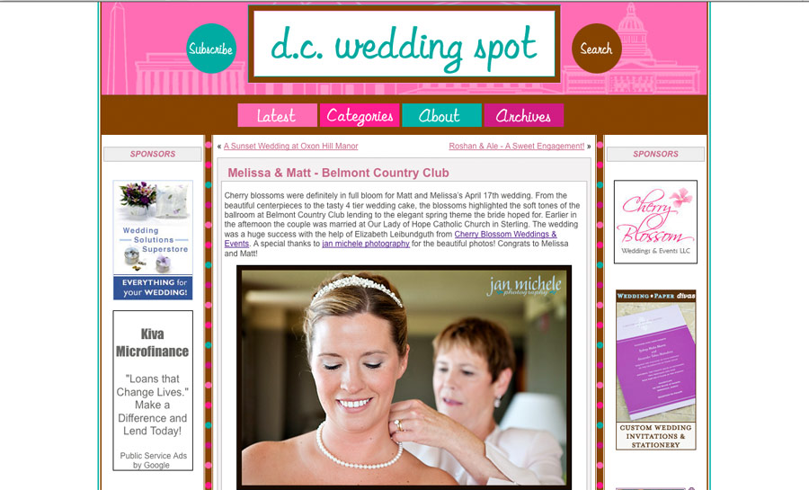 Belmont Country Club wedding featured on dc wedding spot