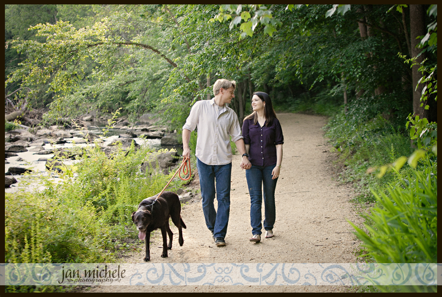 17 Sunset hike Engagement Pictures by rocks waterfall